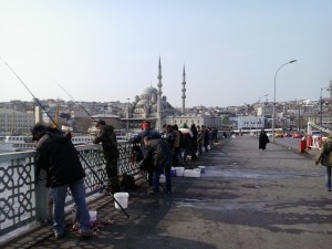 Fisherman and the New Mosque on the Galata Bridge