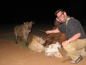 Me feeding Herb the Hyena