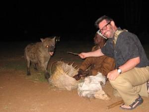 Me feeding Herb the Hyena